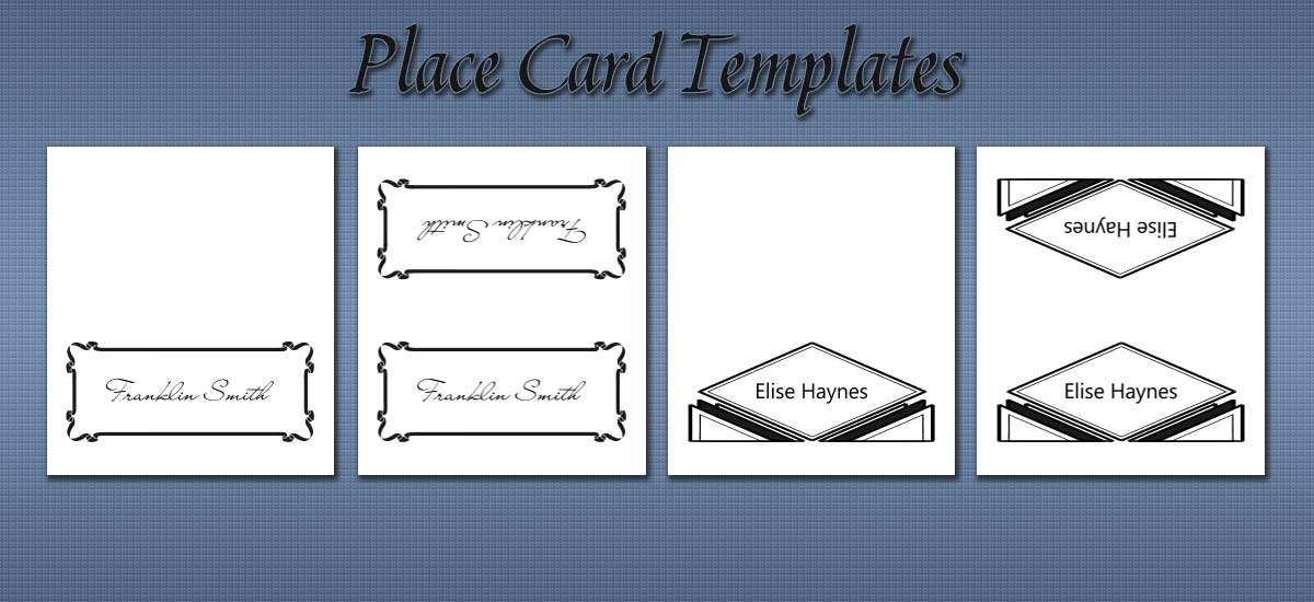 Free place card templates for Double sided place card template