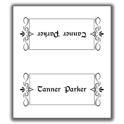 Place card template 2 for Double sided place card template